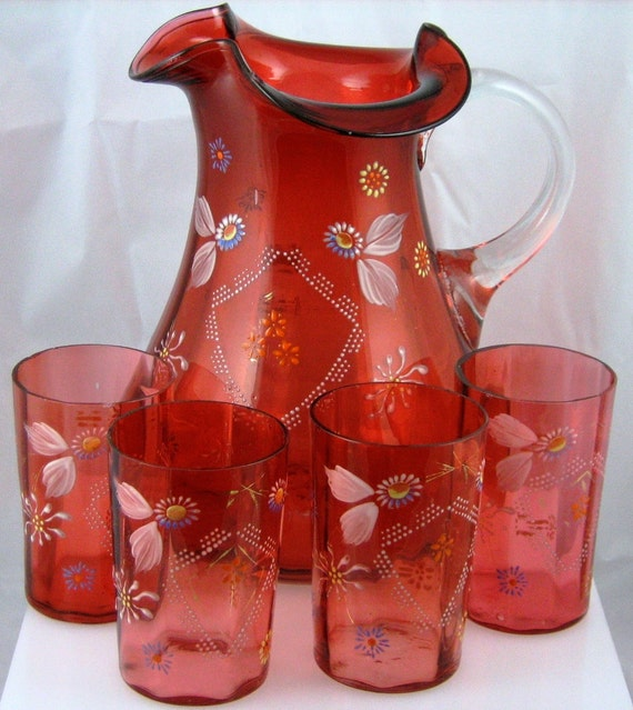 Vintage Cranberry Stained, Victorian Water Set with Floral Decoration