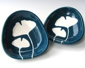 Dipping dish - ginkgo leaves in dark teal