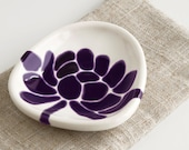 ceramic dipping bowl - lotus flower in deep purple - home decor pottery - hopejohnson