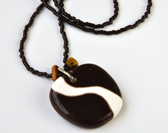 ceramic pendant and beaded necklace - dark chocolate brown curve