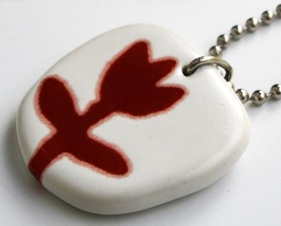 ceramic pendant necklace - tulip flower in red