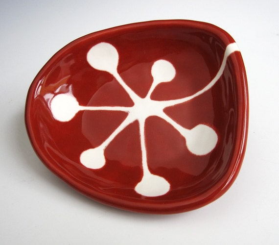 small ceramic dish - retro berries in crimson red and white