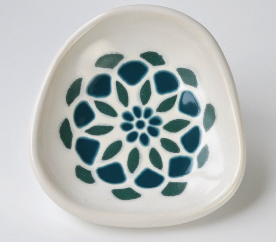 SALE - small bowl - dahlia flower in dark teal and blue green