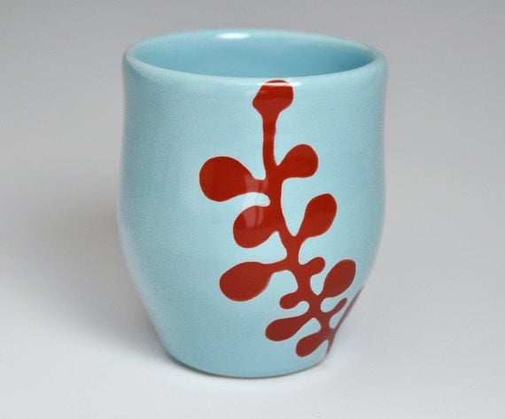 ceramic cup - abstract berries in red and sky blue