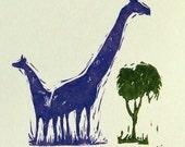 Blue giraffee original linocut on pale card
