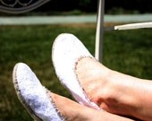 White Satin and Lace Wedding/Honeymoon Slippers