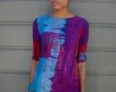 Vintage 1980's Multicolor Paint Splash Oversize Tunic Top S/M