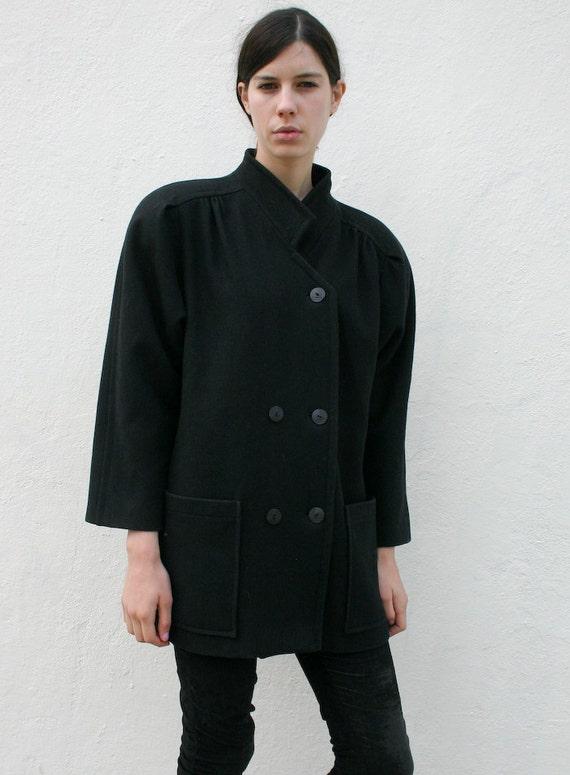 SALE // Vintage 1980's Black Wool Structural Avant Garde Coat S/M