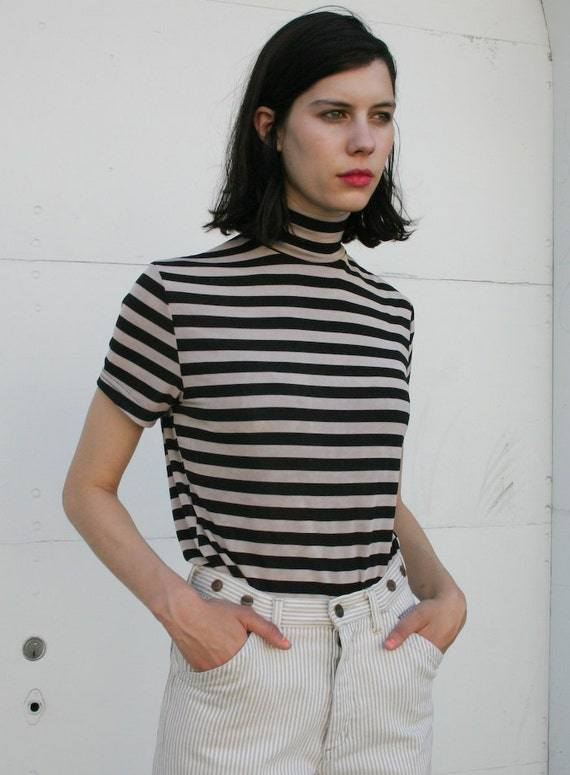 Vintage 1990's Taupe Stripe Stretch Turtleneck Top S/M