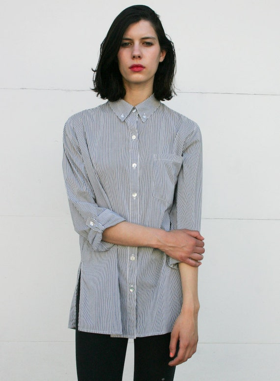 Vintage 1990's Classic Charcoal Cotton Striped Oxford Blouse M