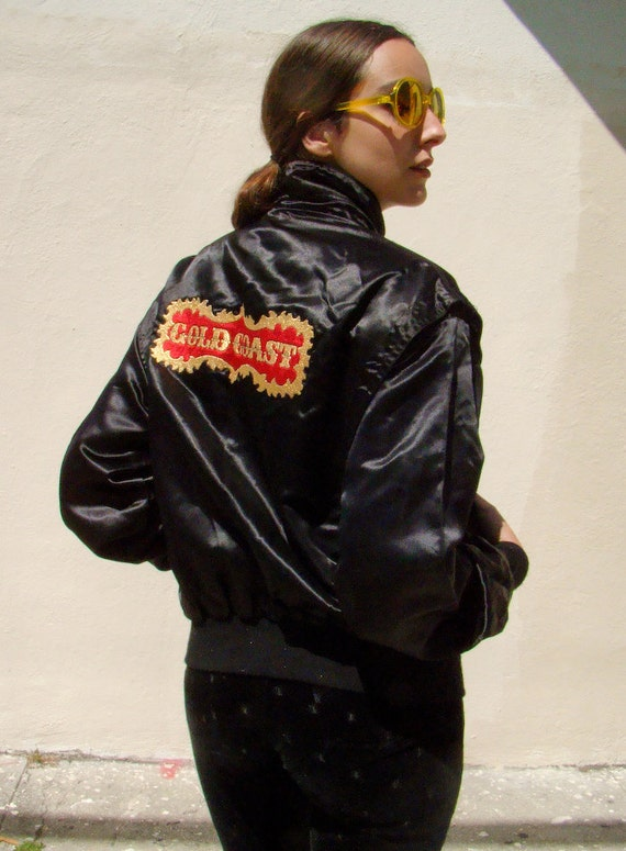 Vintage 1980's Black Satin GOLD COAST Bomber Jacket S/M