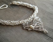 Byzantine chainmaille sterling silver bracelet with heart