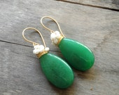 handmade gold plated wired jade 3cm drops-fresh water pearls