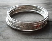 CHRISTMAS GIFT for her hammered sterling silver bangle bracelets: set of 10 - gift for mom