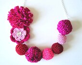 fuchsia hand crocheted necklace-silver plated chain-rhinestone sew on