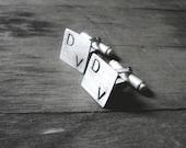 mens custom monogram cufflinks sterling silver 925 wedding cufflinks - handstamped made to order