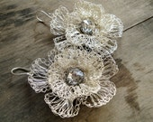 silver plated wire crochet flower earrings with swarovski