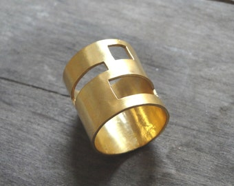 gold statement ring, 24 ct gold plated bronze geometry minimalistic handmade ring, made to order