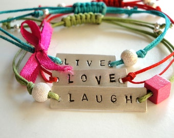 friendship bracelets - live love laugh sterling silver bracelets- multicolor cords- adjustable size