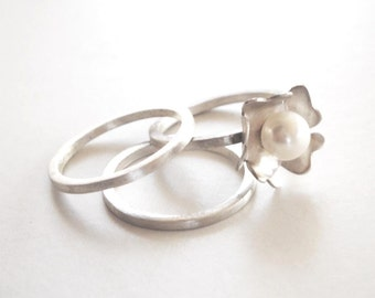 pearl ring, sterling silver, fresh water pearl bridal ring - set of 3