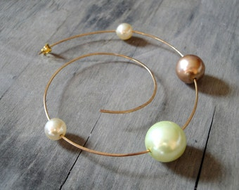 PLANET EARRINGS-gold plated bronze wire with different sizes pearls