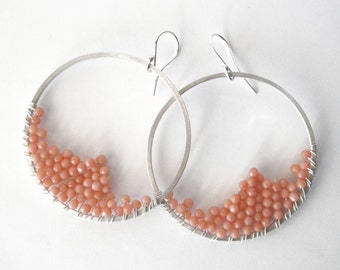 wire wrapped sterling silver hoop earrings pink peach coral beads