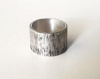 mens band ring rustic sterling silver hammered oxidized
