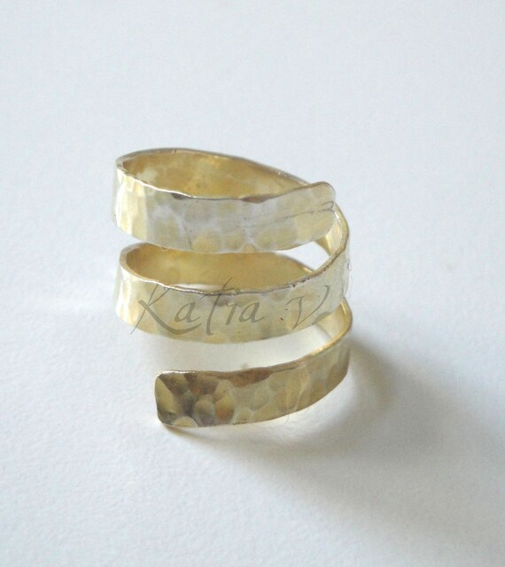 handmade bronze ancient greek spinning around 24ct gold plated ring - adjustable ring