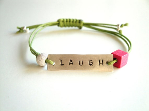 Friendship bracelet - LAUGH sterling silver bracelet - personalized bracelet