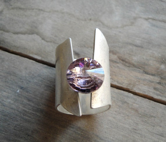 statement sterling silver ring with light amethyst purple swarovski element, february stone ring