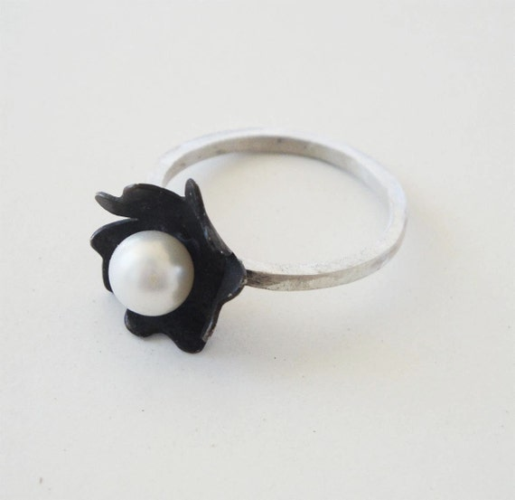 sterling silver white pearl ring patina flower