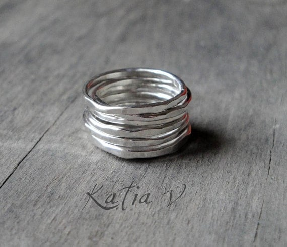 Stacking Rings - set of 7 sterling silver stackable rings