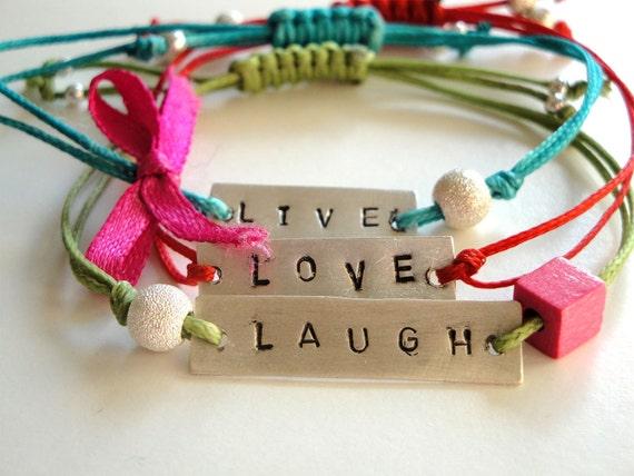 friendship bracelets - live love laugh sterling silver bracelets- multicolor cords- adjustable size