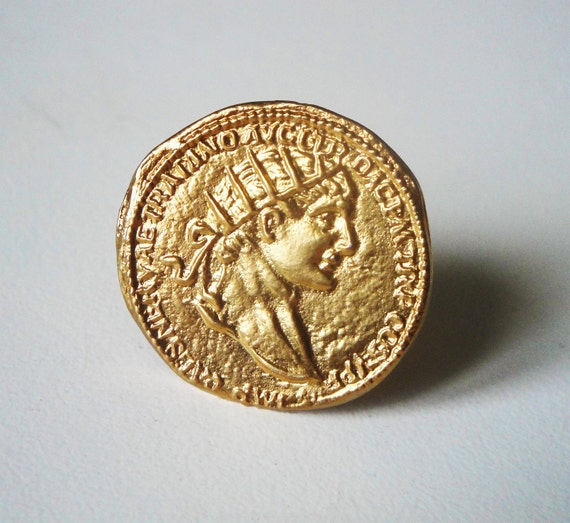 gift for her bronze gold plated statement ring ancient roman coin gold plated 24K bronze ring christmas gift for mom
