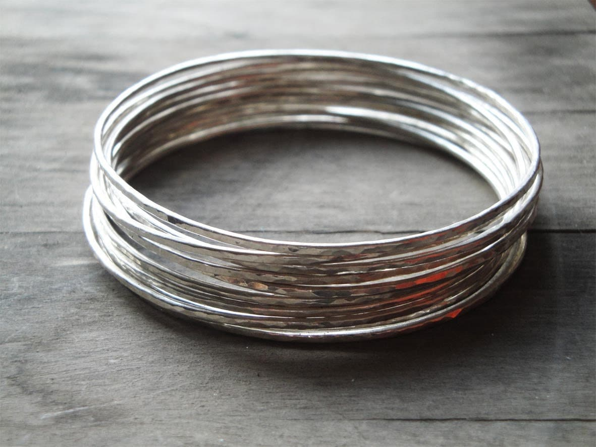 Hammered Sterling Silver Bangle Bracelets Set Of 10 Boho. Grandmother Rings. Hawk Watches. Purple Rings. Pure Silver Chains. Baby Jewelry. Dad Necklace. Bracelets Lockets. Entry Bracelet
