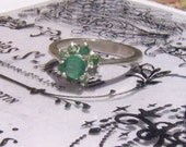 Natural  Genuine Emerald ring sterling silver