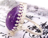 Genuine Big Amethyst Cab Gemstone and white sapphire accents ring  set in Sterling Silver 10 1/4 can be resized