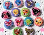 Kawaii Animals Critters 1 inch Plastic Back Medallion Cabochon Cameo Charms 25mm Lot Style - A1