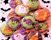 Halloween Cutie Mix 1 inch Plastic Back Medallion Cabochon Cameo Charms 25mm Lot - B