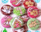 Milk and Cookies - Christmas Gingerbreadmen 1 inch Plastic Back Medallion Cabochon Cameo Charms 25mm Lot
