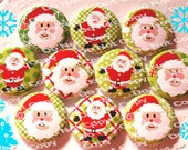 NEW Jolly Santa Claus 1 inch Plastic Back Medallion Cabochon Cameo Charms 25mm Lot