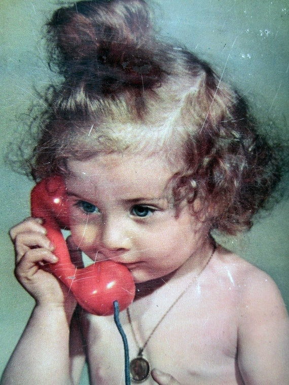 1960s French vintage TIN BOX⎮BABY calling on phone