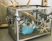Antique Aquarium, Terrarium, Planter, Victorian, Fish Tank, Wrought Iron, Metal, Aged, Table Base, Display Case, Floral, Flowers, Vintage
