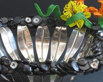 Basket , Metal Basket , Wedding Basket , Reception Basket , Floral Basket , Metal Basket , Handmade , Black and Silver , Serve and Entertain