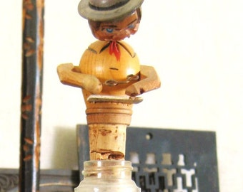Vintage Bottle Stopper, Anri, Folk Art, Hand Carved Figure, Male Portrait, Male Figure, Antique Bottle, Folk Art Corker, Barware,Bottle Cork