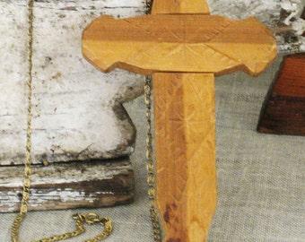 Religious Jewelry , Folk Art , Carved , Wooden Cross , Chain , Jewelry , Folk Art Jewelry , Folk Art Cross , Religious Folk Art , Handmade