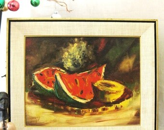Still Life Painting , Fruit , Signed Weigel , Weigel Painting , Mid - Century Art , Fine Art , Original , Watermelon , Vintage Art , Framed