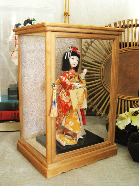 Geisha Doll in Wood and Glass Cabinet - Asian Persuasion