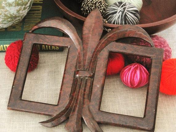 Antique Handcarved Burlwood Double Frame- Queens Manor