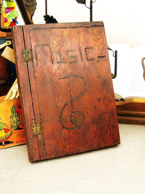 Antique Folk Art Sheet Music Case- Ranch Cabin